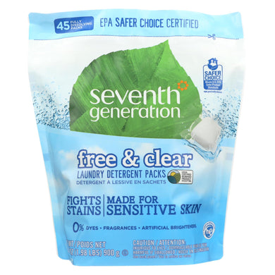 Seventh Generation Laundry Detergent - Packs - Case of 8 - 45 count