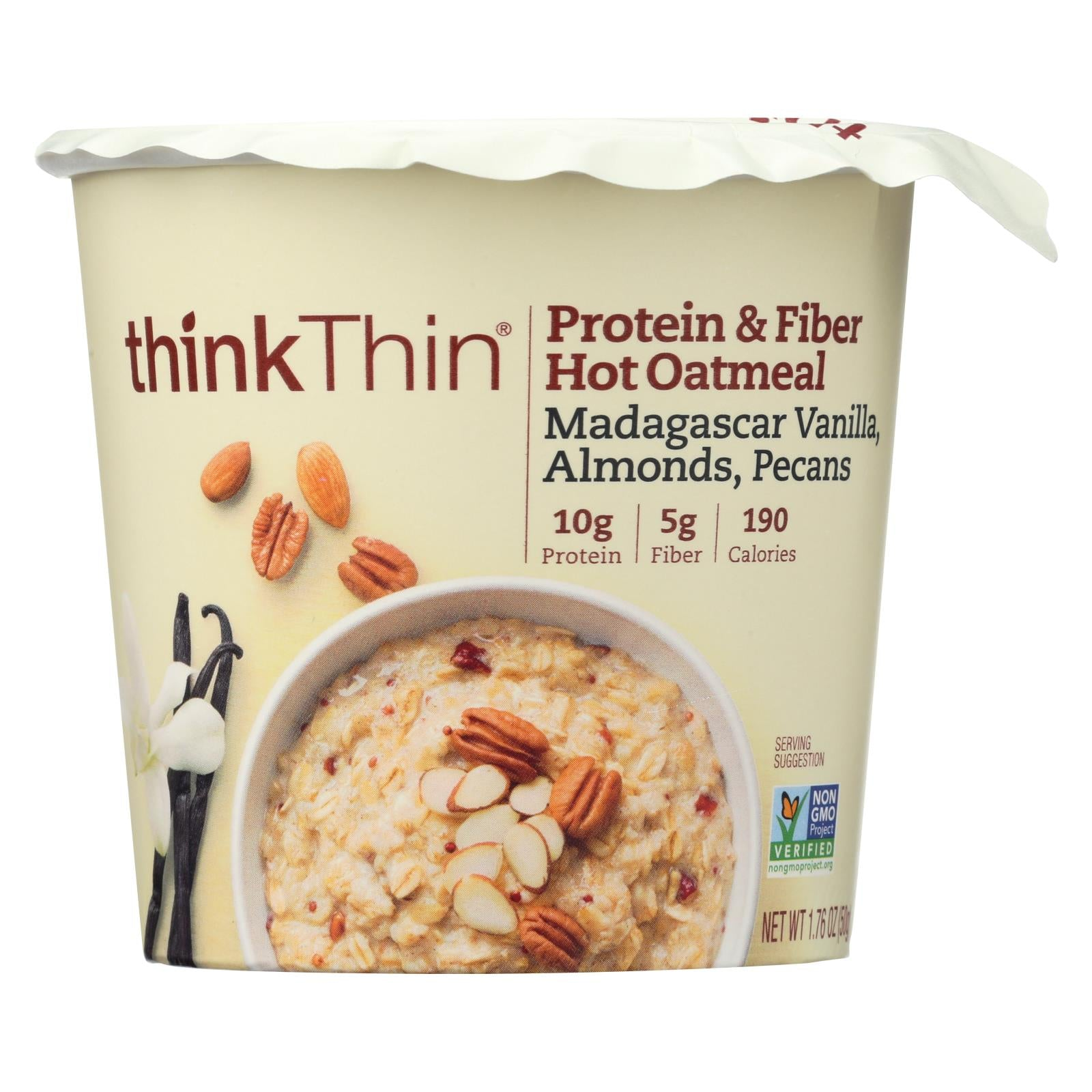 Buy Think! Thin Protein & Fiber Hot Oatmeal -Vanilla - Almonds - Pecan - Case of 6 - 1.76 oz - Hot Cereal from Veroeco.com
