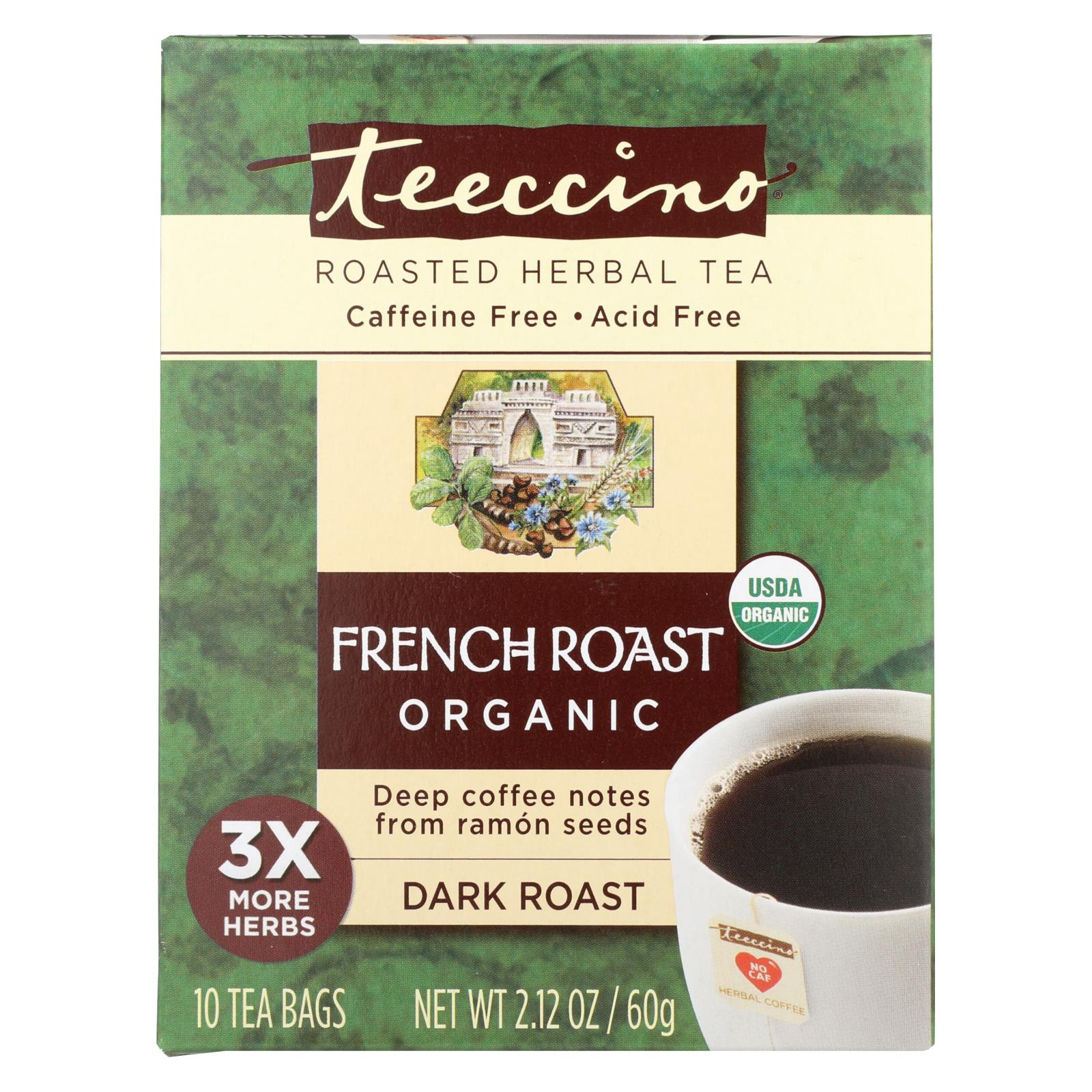Buy Teeccino French Roast Herbal Coffee Dark Roast - 10 Tea Bags - Case of 6 - Beverages from Veroeco.com