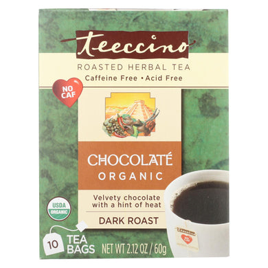 Teeccino Herbal Coffee Chocolate Dark Roast - 10 Tea Bags - Case of 6