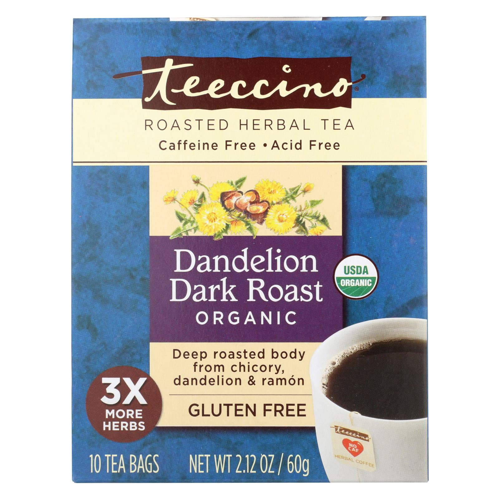 Buy Teeccino Coffee Tee Bags - Organic - Dandelion Dark Roast Herbal - 10 Bags - Beverages from Veroeco.com
