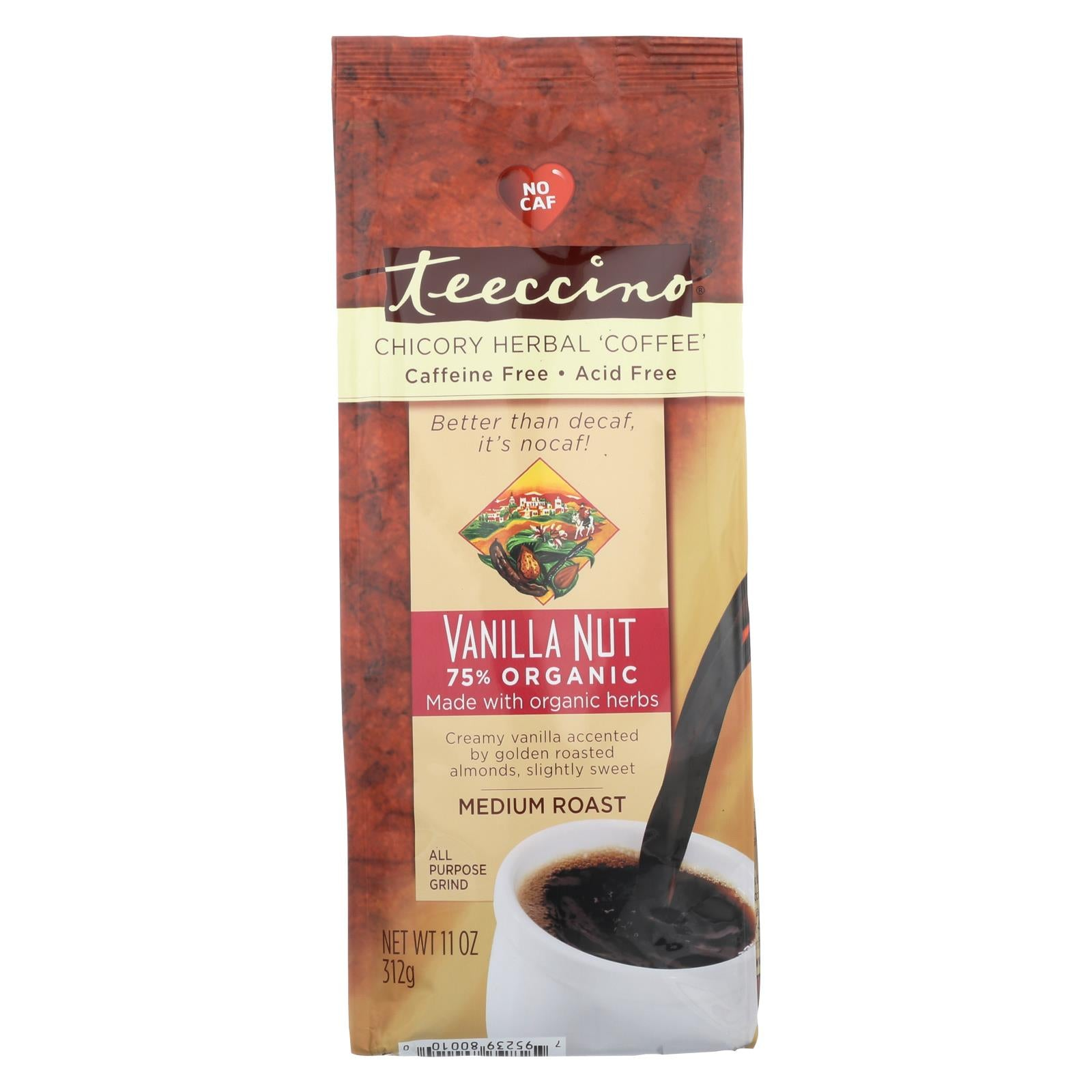 Buy Teeccino Mediterranean Herbal Coffee - Medium Roast - Caffeine Free - Vanilla Nut - 11 oz - Beverages from Veroeco.com