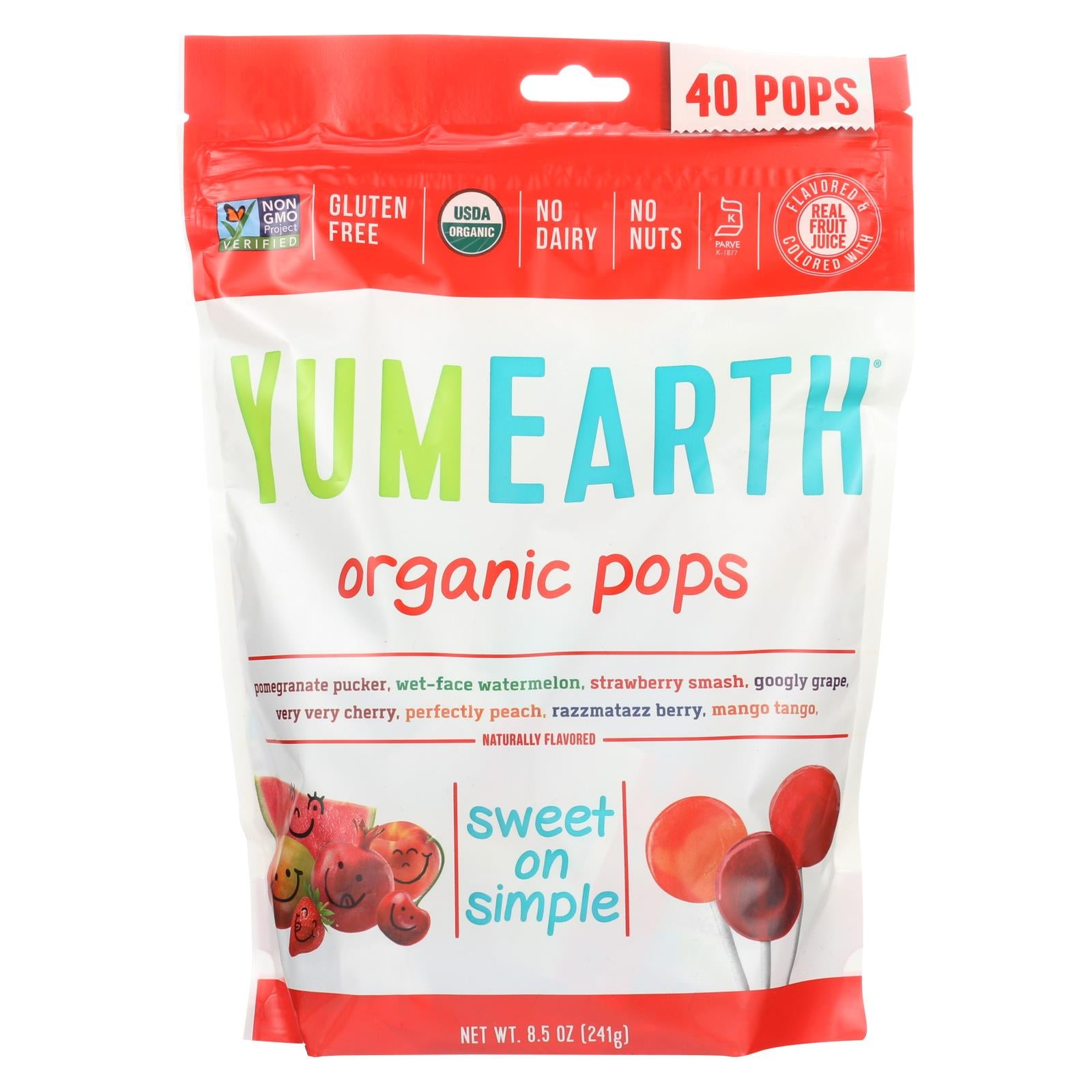 Buy Yummy Earth Organics Lollipops - Organic Pops - 40 Plus - Assorted - 8.5 oz - Case of 12 - Candy and Chewing Gum from Veroeco.com