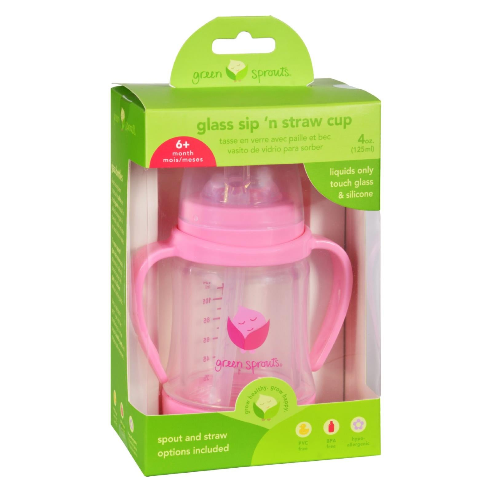 Buy Green Sprouts Cup - Sip N Straw - Glass - 6 Months Plus - Pink - 1 Count - Bottles and Cups from Veroeco.com