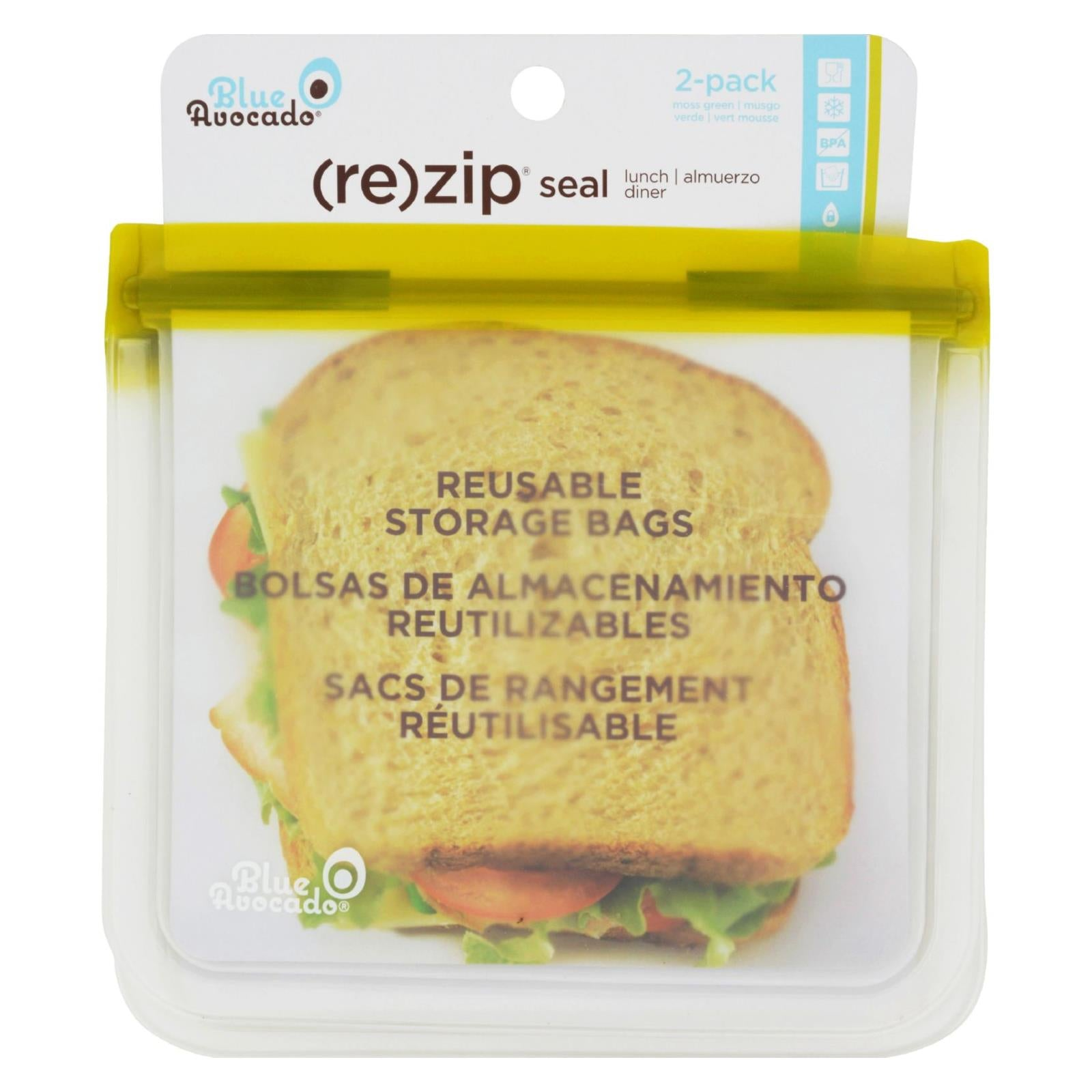 Buy Blue Avocado Lunch Bag - Re-Zip Seal - Green - 2 Pack - Reusable Bags from Veroeco.com