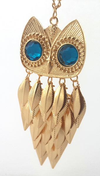 Gold Owl Feather Necklace
