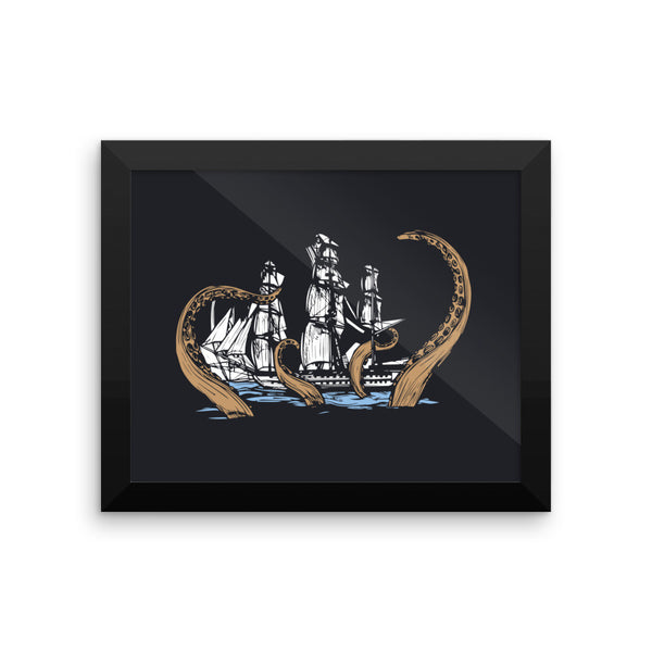 Kraken Attack Framed Poster