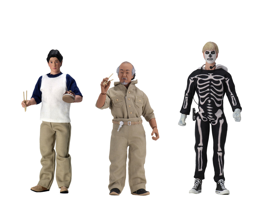 THE KARATE KID – 3 Figure Set - DANIEL, MR. MIYAGI, and JOHNNY - 8″ Clothed Action Figures - NECA