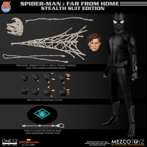 SPIDER-MAN - PX - Stealth Suit Edition - One:12 Collective Action Figure - MEZCO