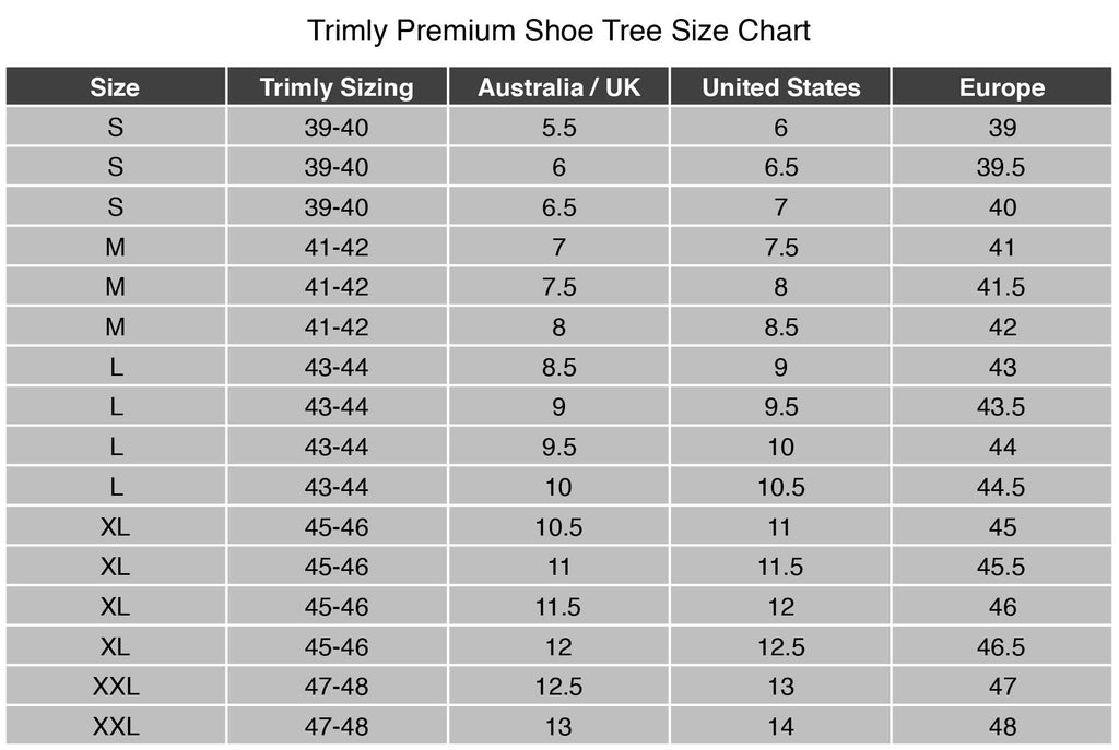 Fullback-ShoeTree-Chart-Trimly
