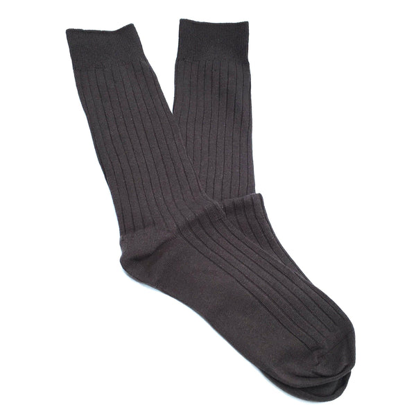 Cotton Ribbed Socks - Espresso