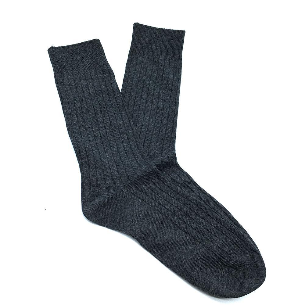 Cotton Ribbed Socks - Grey