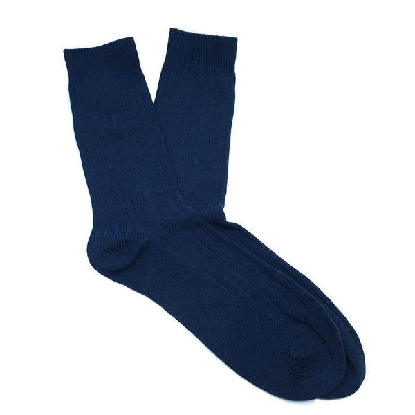 Cotton Ribbed Socks - Midnight Blue