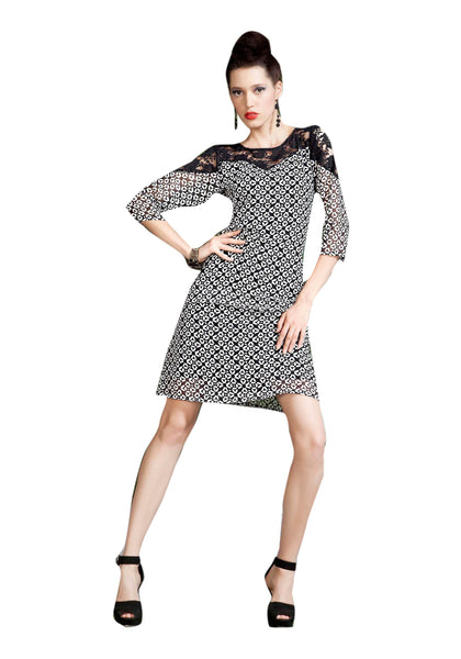 Urban India Black & off white Polyester Georgette Stitched Kurti