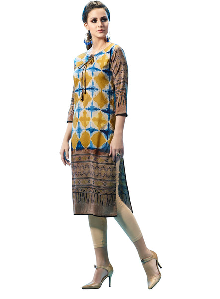 Urban India Beige & Mustard Poly Modal (Cotton Base) Stitched Kurti