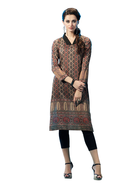 Urban India Beige  Poly Modal (Cotton Base) Stitched Kurti