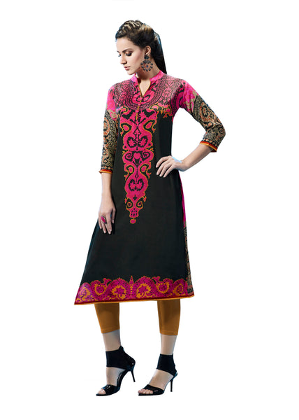 Urban India Black & pink French Crepe Printed Stitched Kurti