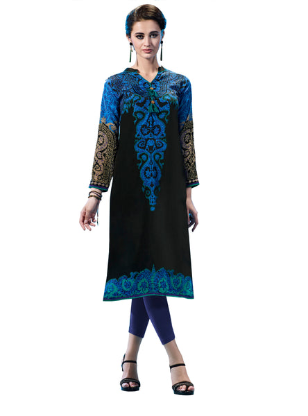 Urban India Black & Blue French Crepe Printed Stitched Kurti