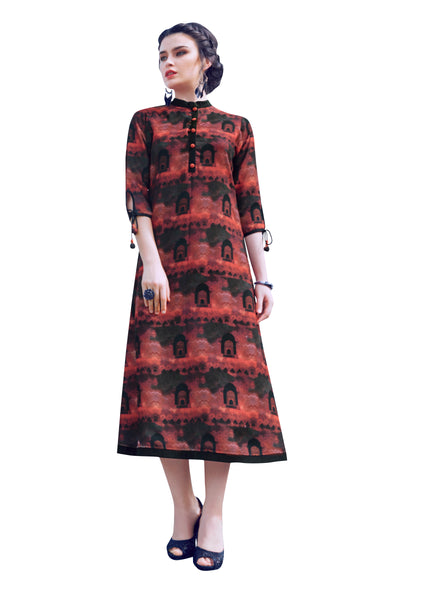 Urban India Black & Rust Modal Stitched Kurti