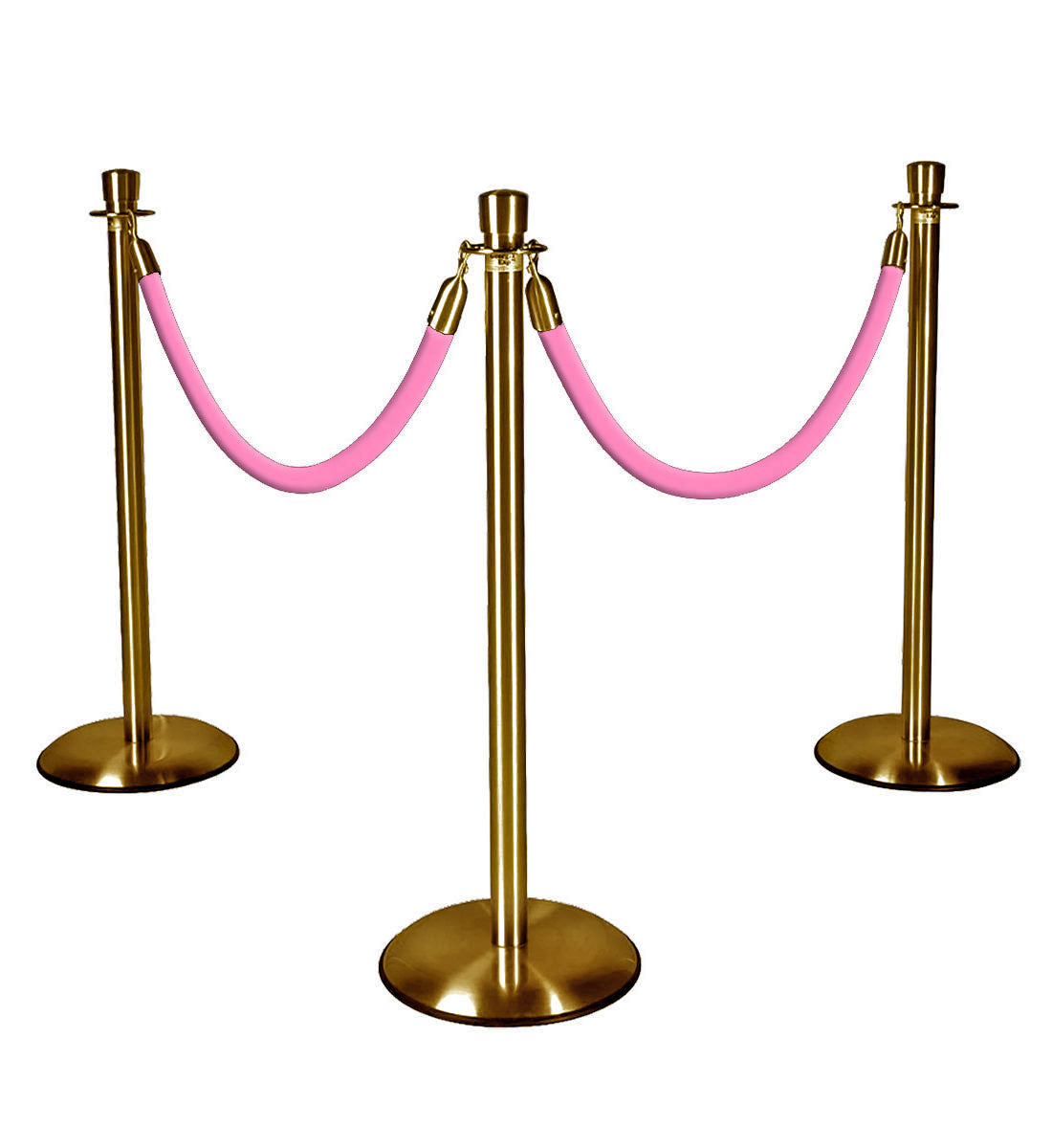 Gold Stanchions with Pink Ropes