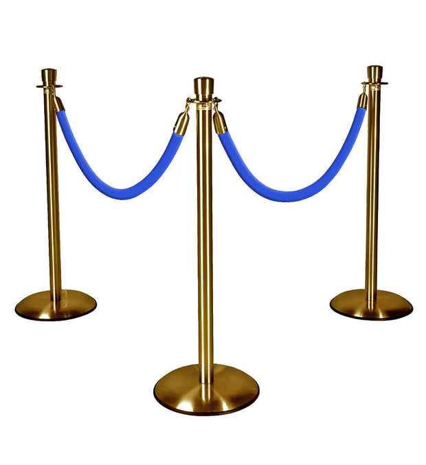 Gold Stanchions with Blue Ropes