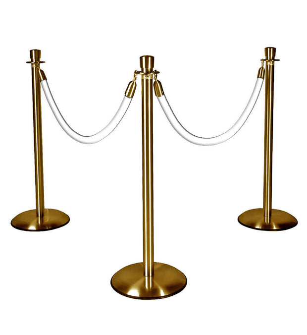 Gold Stanchions with White Ropes