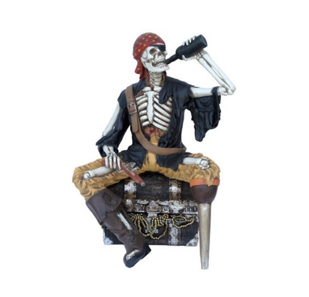 Pirate Skeleton Sitting on Treasure Chest