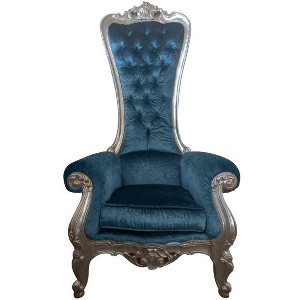 Teal Blue/Silver Royal Throne Chair