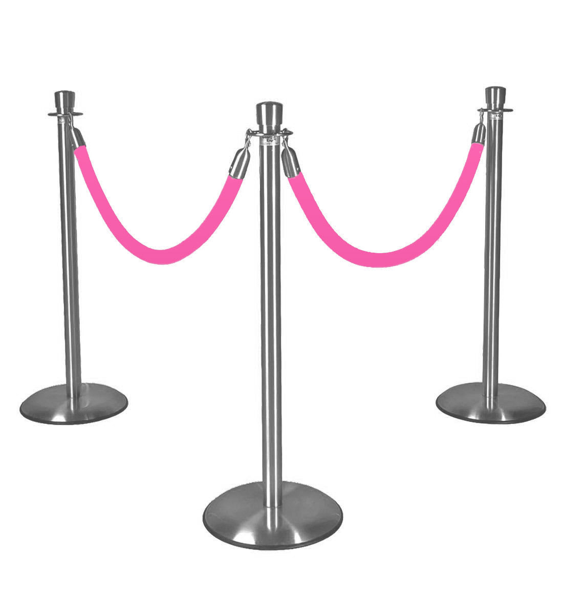 Silver Stanchions w/ Hot Pink Ropes