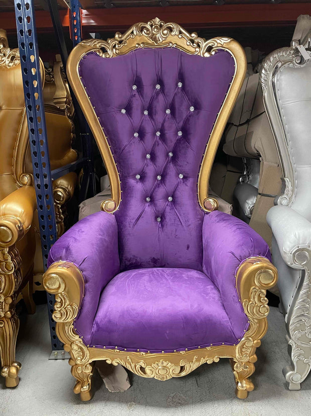 Purple/Gold Royal Throne Chair