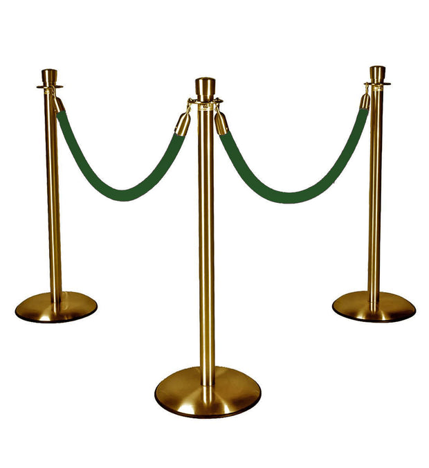 Gold Stanchions w/ Forest Green Ropes