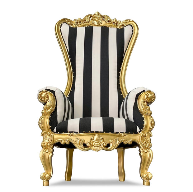 Black & White Striped/Gold Royal Throne Chair