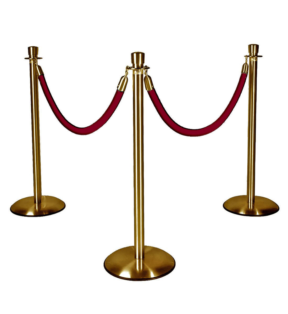Gold Stanchions with Burgundy Ropes