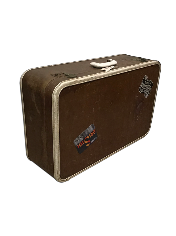 Dark Brown Vintage Travel Suitcase
