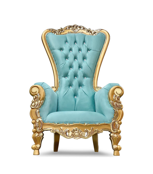Teal Blue/Gold Royal Throne Chair