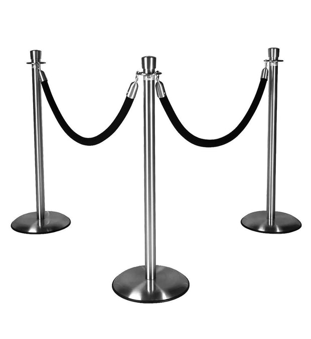 Silver Stanchions w/ Black Ropes