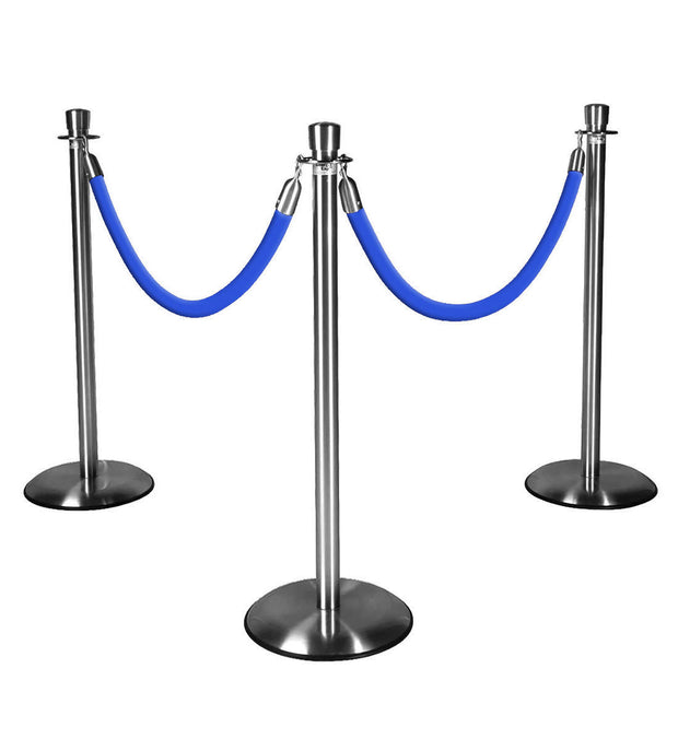 Silver Stanchions w/ Blue Ropes