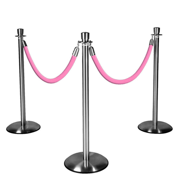 Silver Stanchions w/ Pink Ropes