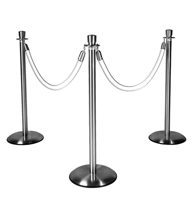 Silver Stanchions w/ White Ropes
