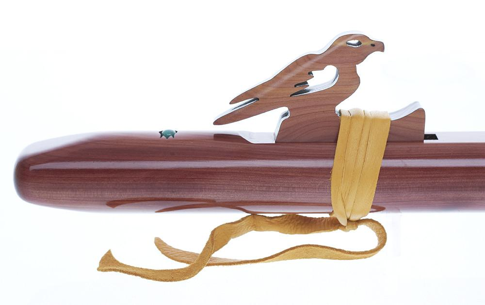 "High Spirits Native American Flute Sparrowhawk ""A"", Aromatic Cedar With Turquoise Inlay"