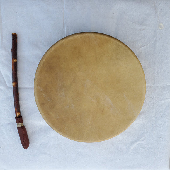 Elk Rawhide Hand Drum with Beater, by Nash Tavewa