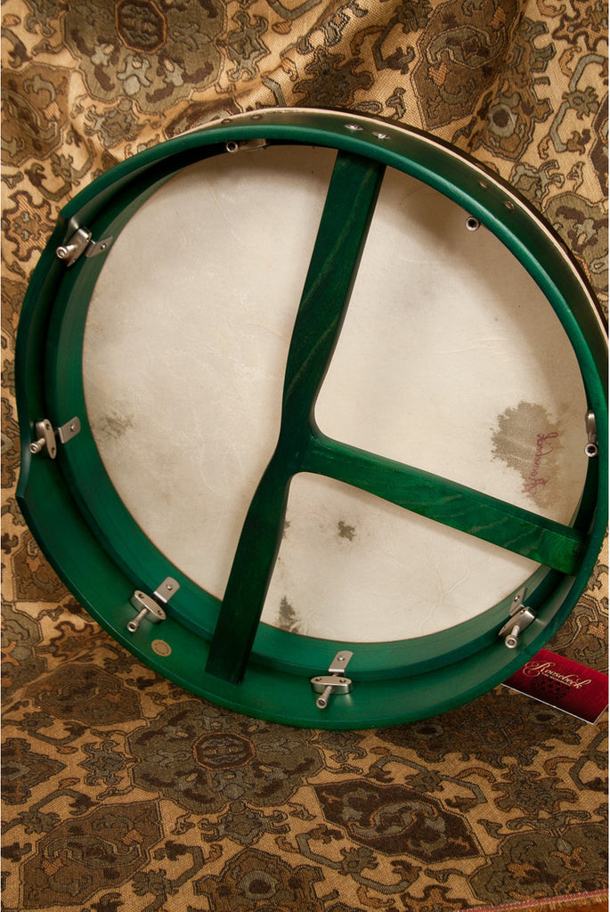 "Roosebeck Bodhran, 16""x3.5"", Tune, Green, T-Bar"