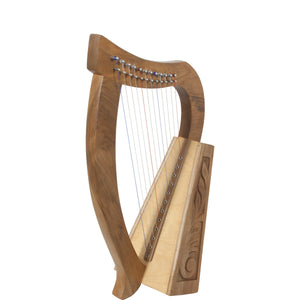 Roosebeck 21 Inch Baby Harp 12 String Walnut + String Set + Tuning Tool