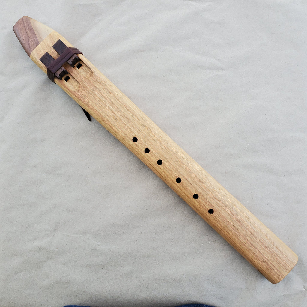 Native American Double Flute in D Minor by Nash Tavewa, Canary Wood