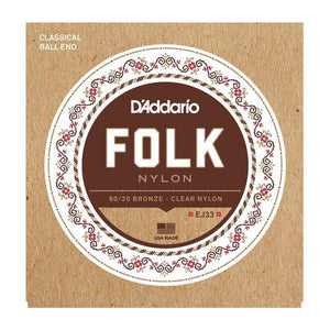 Accessories_Strings Acoustic Guitar Folk Clear Nylon 80/20 Ball Strings D'Addario EJ33