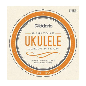 Accessories_Strings Baritone Ukulele Clear Nylon/Silver Wound Strings D'Addario EJ65B