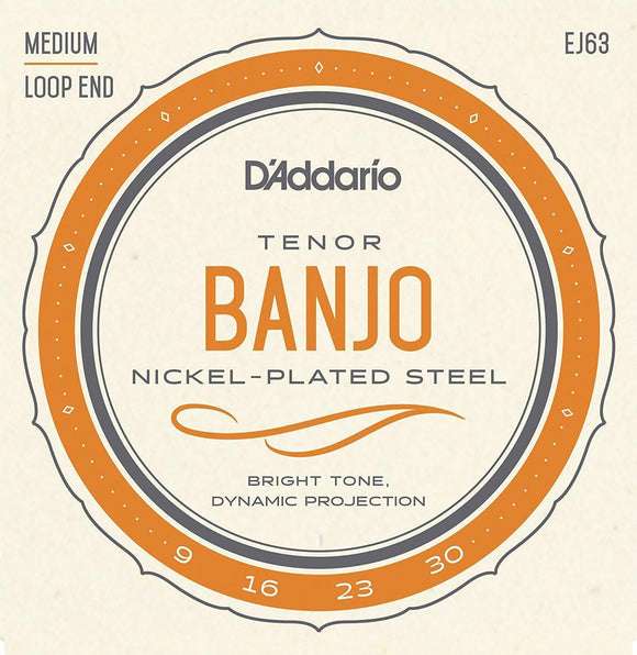 Accessories_Strings D'Addario EJ63 Tenor Banjo Strings, Nickel, 9-30