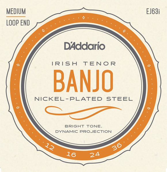 Accessories_Strings D'Addario EJ63i Irish Tenor Banjo Strings, Nickel, 12-36