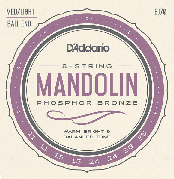 Accessories_Strings D'Addario Mandolin Ball End, Medium/Light Phosphor Bronze Strings EJ73