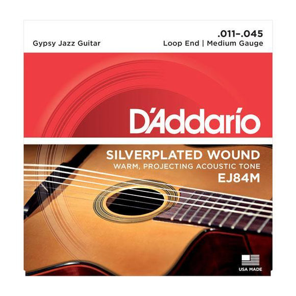 Accessories_Strings Gypsy Jazz Guitar Medium Silver Loop Strings D'Addario EJ84M